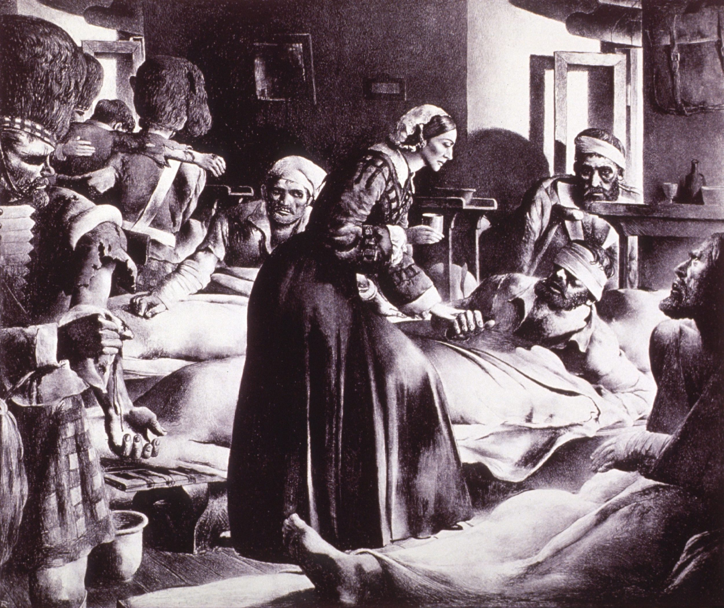 Florence Nightingale pleier sårede soldater. Foto: National Library of Medicine #b029443